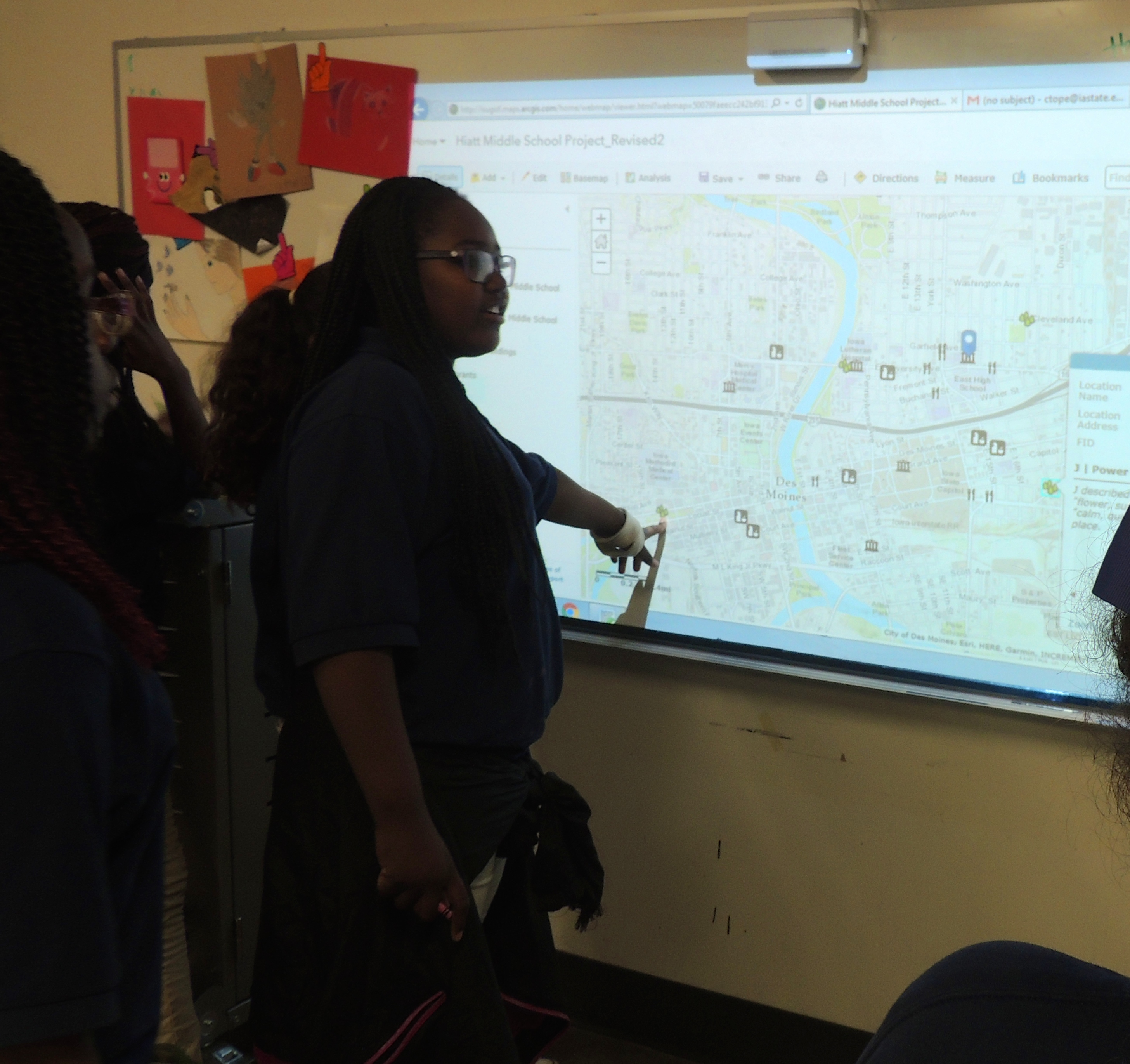 On April 20th, Community Growers youth were working on their GIS map today, analyzing what their map suggests about their garden within food and recreation systems.